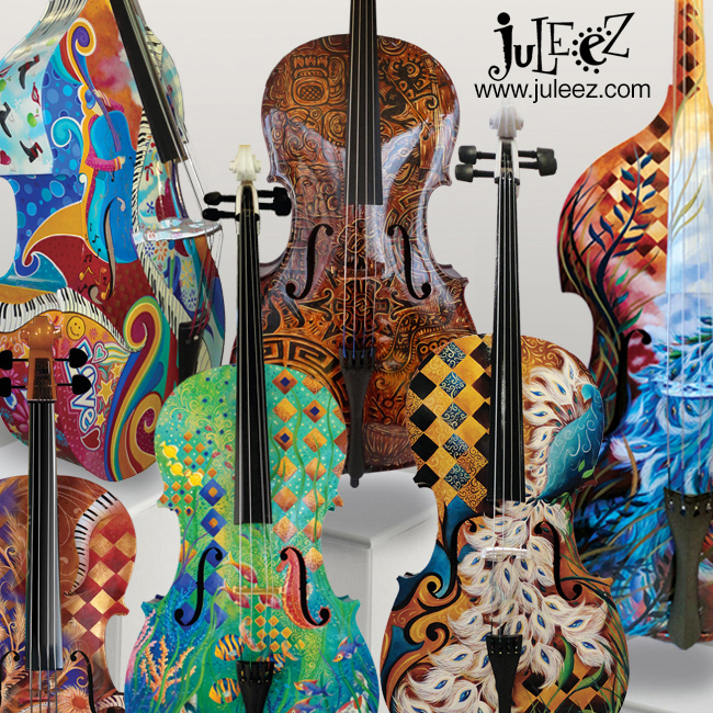 Colorful Hand Painted Cello By Juleez