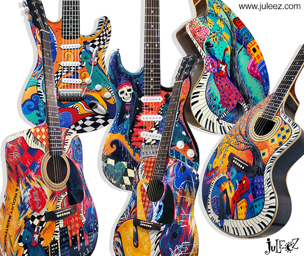 Guitars For Sale Custom Guitar Painted guitar by Juleez