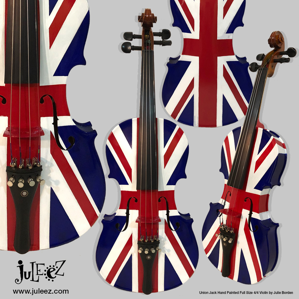 Union Jack Hand Painted Violin Art by Juleez