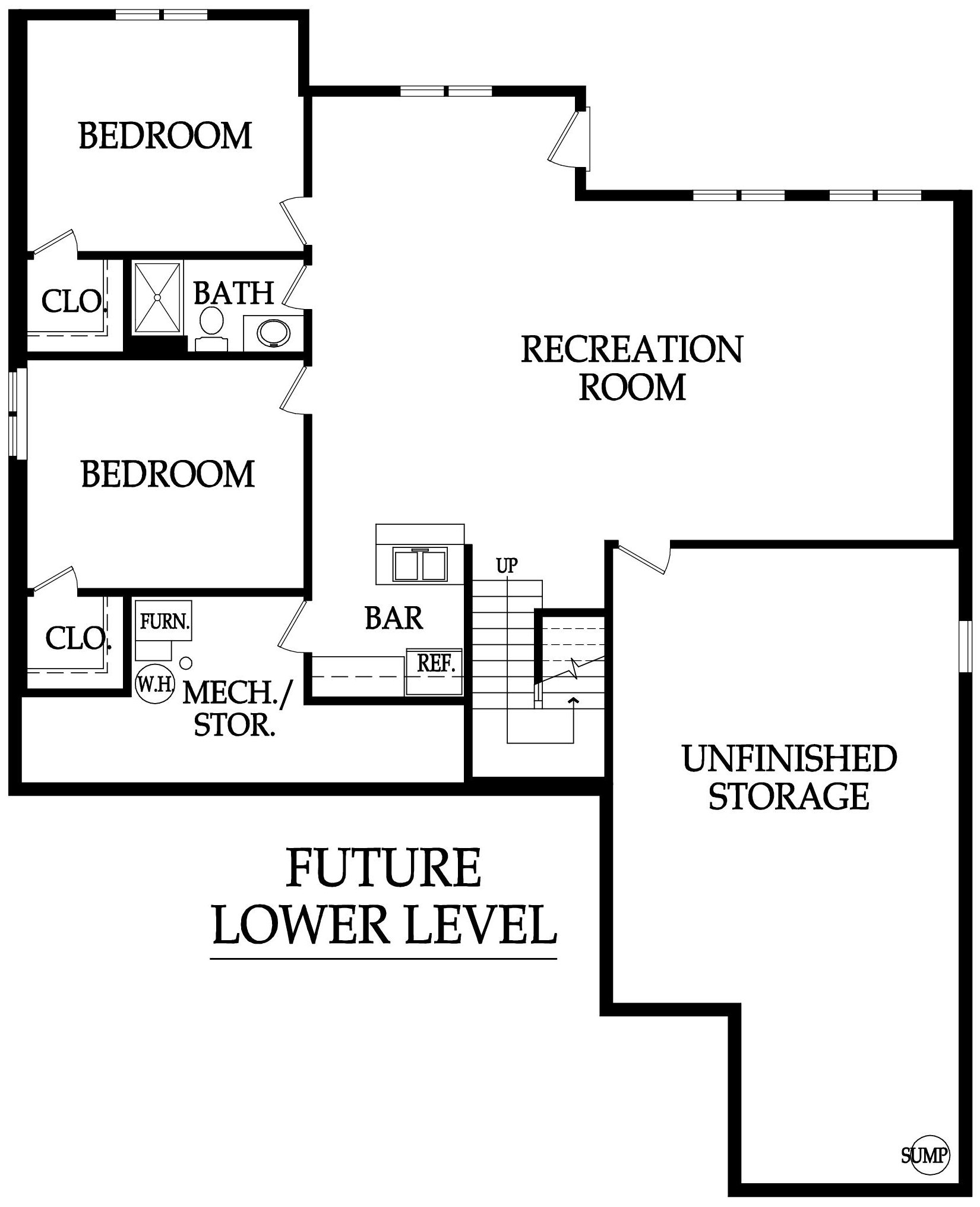 The Pepperwood Floor Plan Lower Level by Ashlar Homes