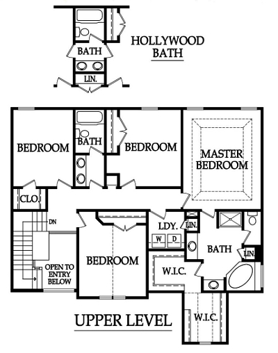 The Pinehurst Floor Plan Upper Level by Ashlar Homes