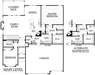 The Pepperwood Floor Plan Main Level by Ashlar Homes