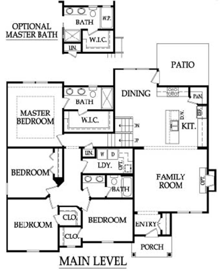 The Linden Floor Plan Main Level by Ashlar Homes