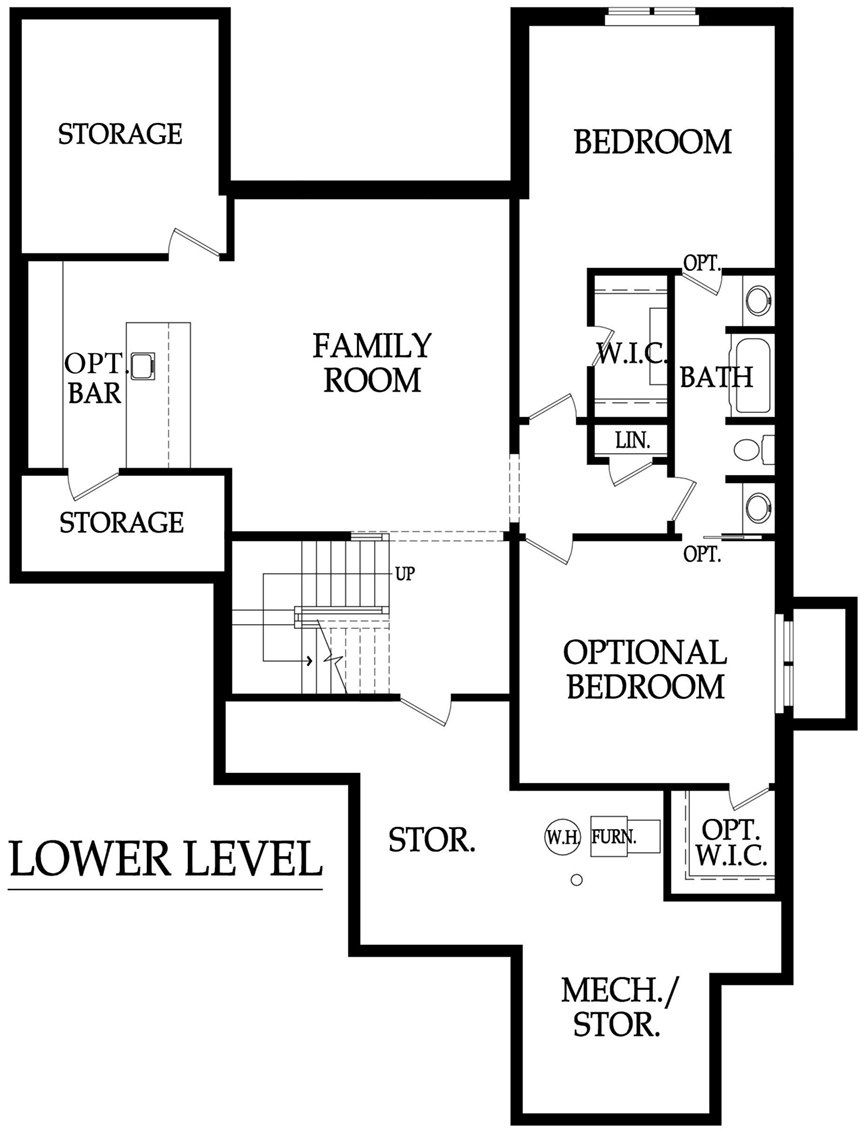 Norwood 3 car tandem floor plan lower level