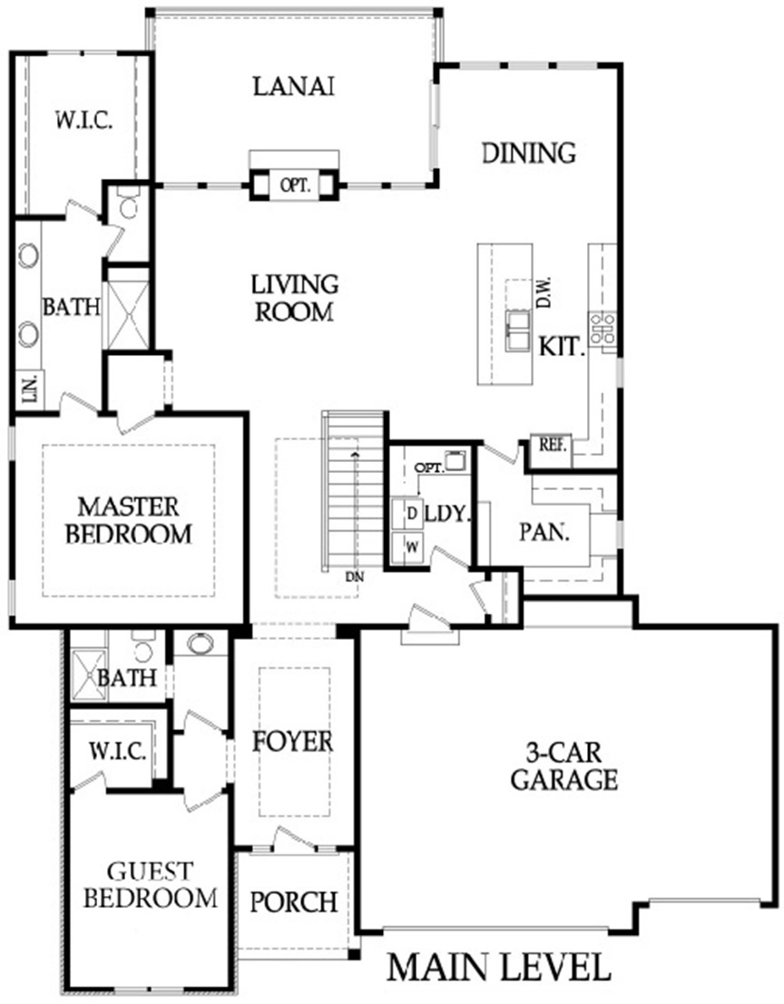 The Crestwood 3 car floor plan main level