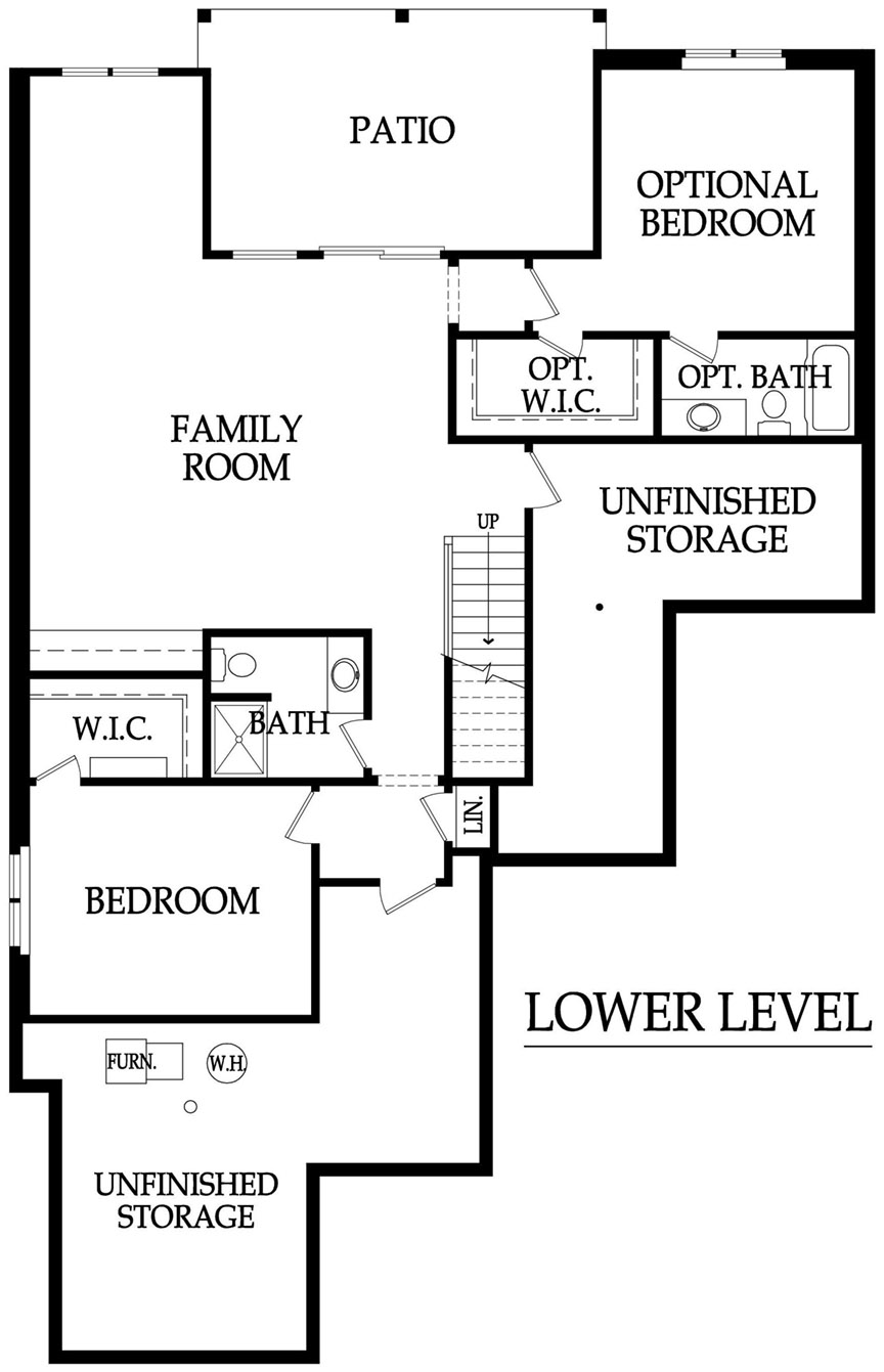 The Crestwood 3 car tandem floor plan lower level