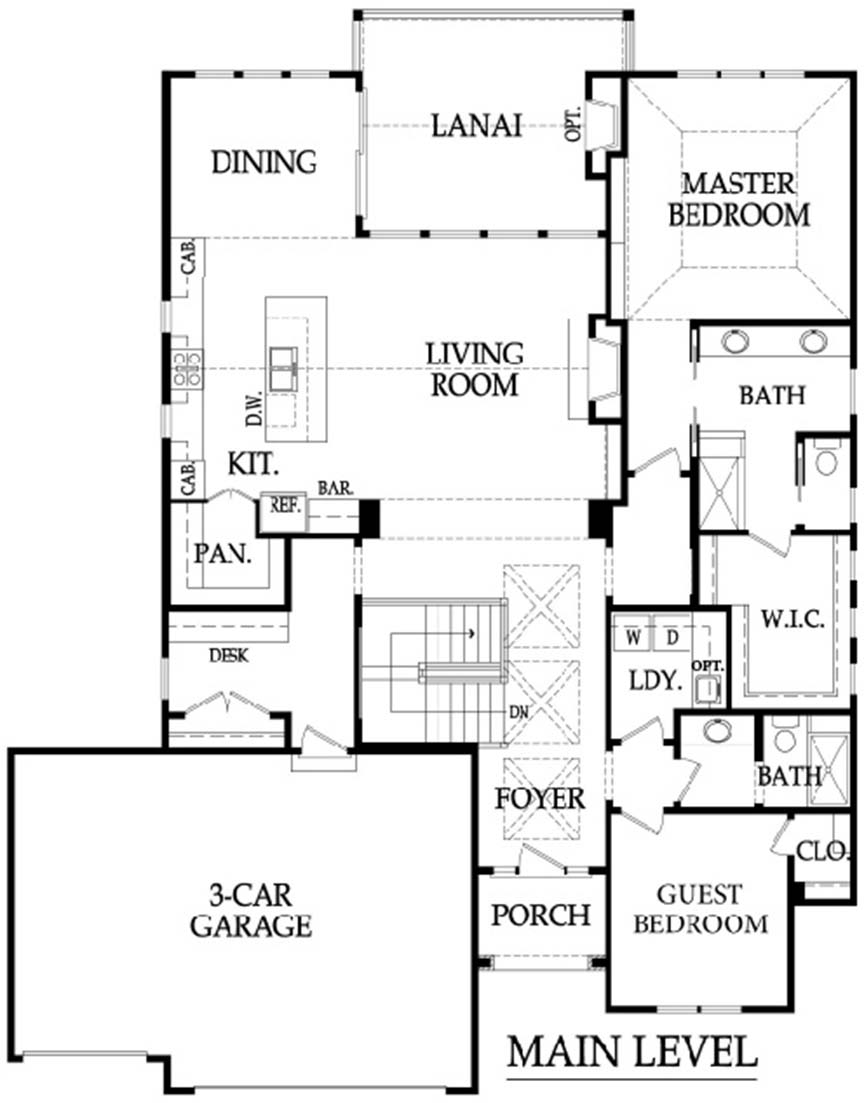 Norwood 3 car floor plan main level