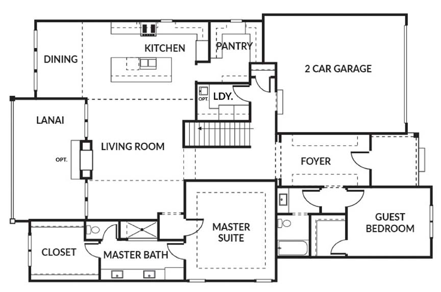 The Crestwood 2 car floor plan main level