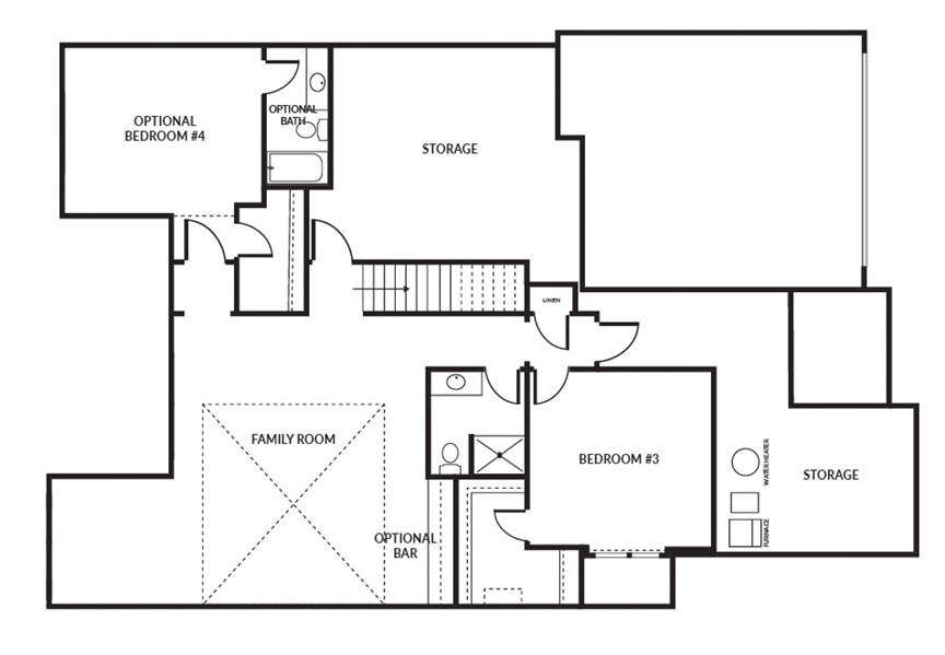 The Crestwood 2 car floor plan lower level