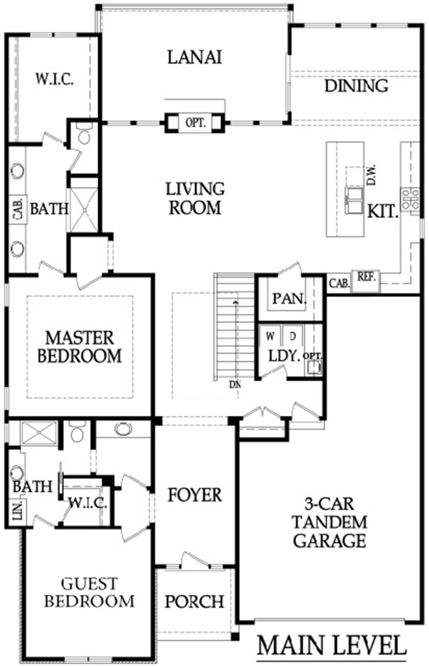 The Crestwood 3 car tandem floor plan main level