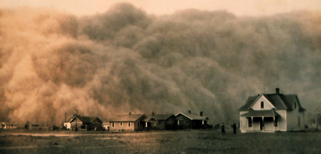 Photo of a dust storm in Texas c. 1935
