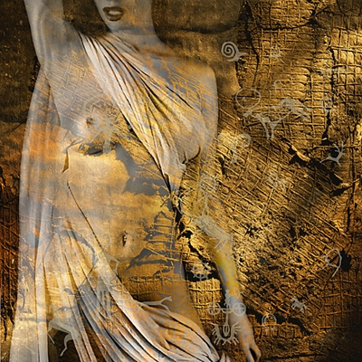 Naked woman erotic art gold tones - prints for $95