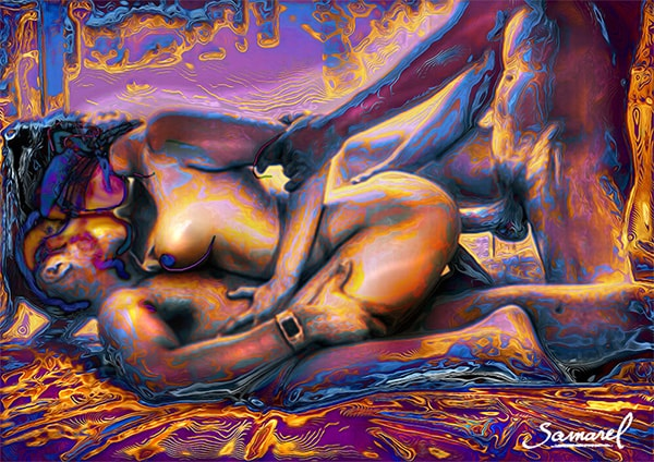 Two man fucking one woman erotic explicit art print