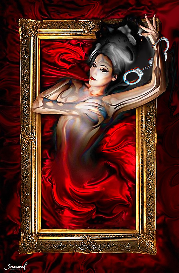 Erotic digital art naked woman out of the frame, canvas print sale price