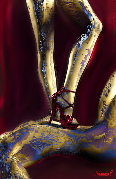 Woman walking over man with red high heels shoes, erotic art canvas print sale price