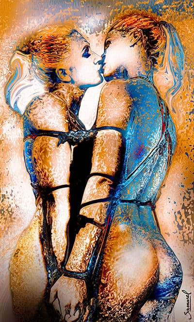 Naked couple in the sea, erotic art print