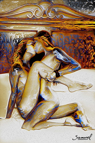 Erotic painting lesbians making love in a royal bed