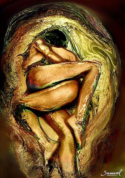 Sensual lesbian hug, gold metal tones art print on sale
