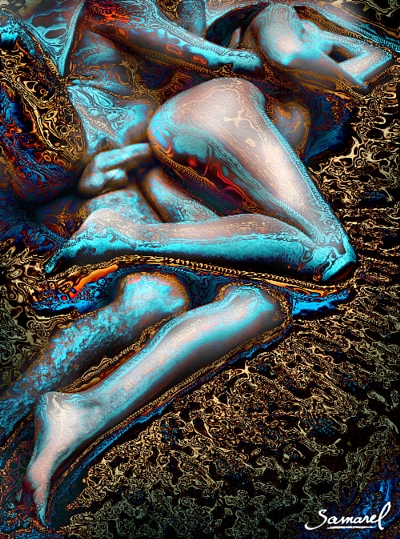 Man spooning his woman from behind, sex act in bed erotic art print