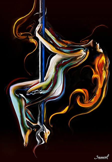 Naked woman dancing pole dance erotic art print