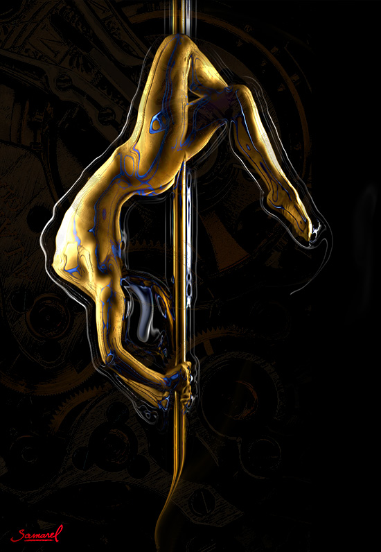Erotic dancer on a pole art on canvas