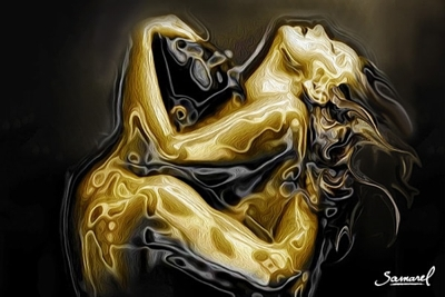 Sensual erotic print, golden hug
