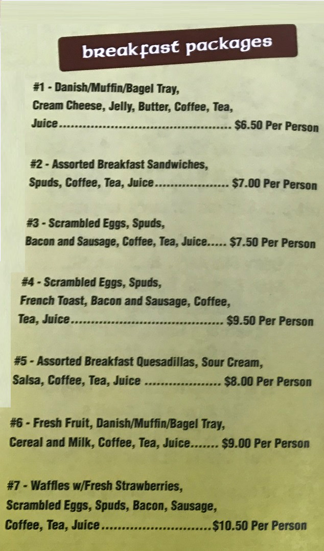 Mitchell's Coffee House catering packages for breakfasts