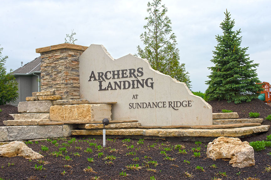 Archers Landing at Sundance Ridge neighborhood sculpture
