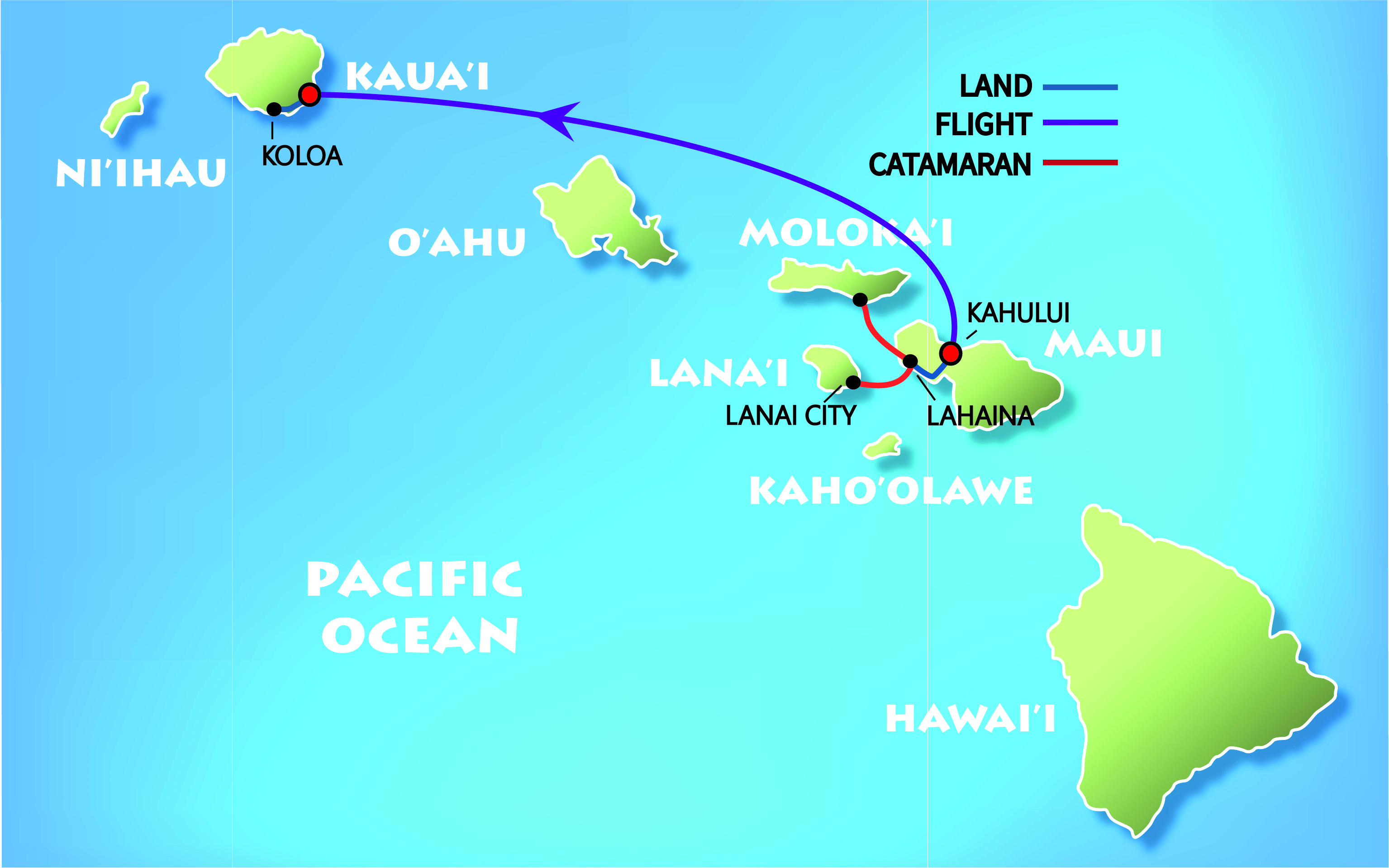 Adventure Hawaii Vacation Map