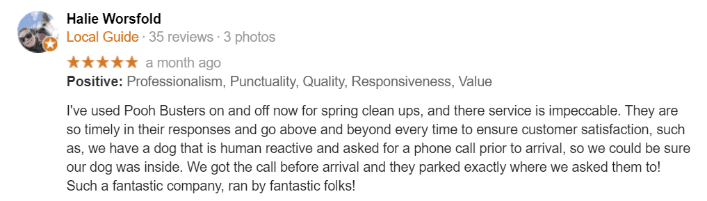 5 star Google review from Poooh Busters client, Halie Worsfold
